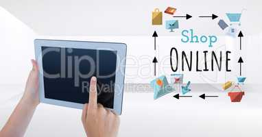 Touching tablet with Shop Online text with drawings graphics