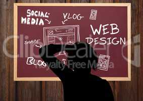 Shadow of a person drawing on the blackboard a graphic about blog