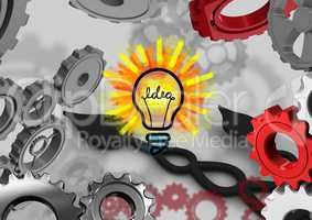 3D cogs background with bulb of an idea