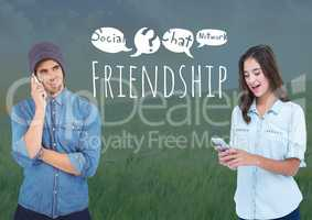 Two friends people on phones with Friendship social media text with drawings graphics
