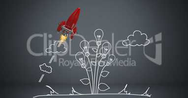Digital composite image of rocket with light bulbs