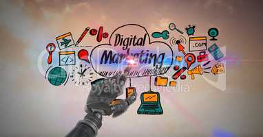 Digital composite image of robot touching screen with digital marketing sign and icons