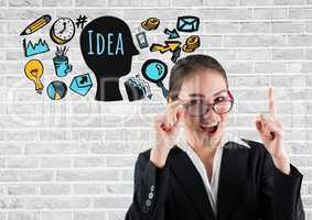 Businesswoman with Idea text with drawings graphics