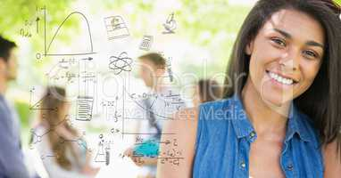 Digitally generated image of various equations with smiling female college student in background