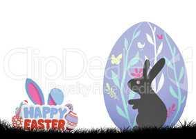 Rabbit in purple egg. Happy Easter
