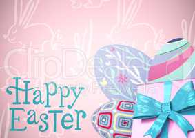 Blue type and pink gift and purple eggs against pink easter pattern