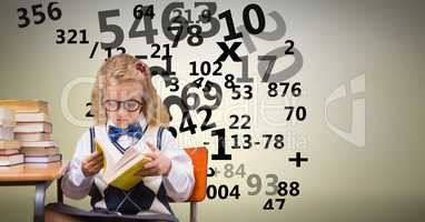 Digitally generated image of girl studying with numbers flying against beige background