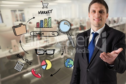 Digital composite image of businessman gesturing by market research text and icons
