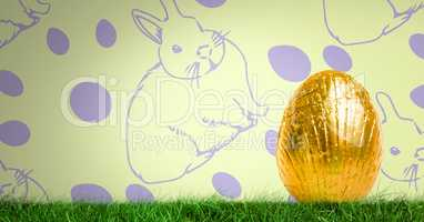 Easter egg in front of pattern