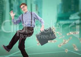 Business man on track with money falling out of briefcase against blurry city with teal overlay