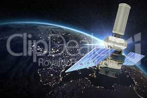 Composite image of vector image of�3d modern solar power satellite
