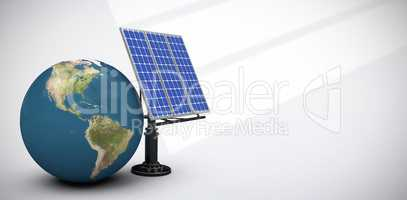 Composite image of digitally generated image of 3d globe and solar equipment