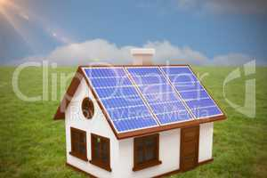 Composite image of 3d vector image of house with solar panels