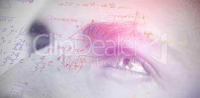 Composite image of maths over black background