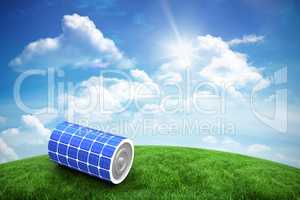 Composite image of high angle view of 3d solar power battery