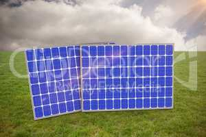 Composite image of 3d image of blue solar equipment
