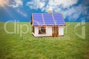 Composite image of vector image of 3d house with solar panels