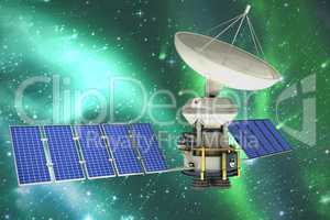 Composite image of vector image of�3d solar powered satellite