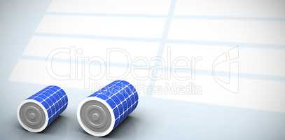 Composite image of vector image of 3d solar battery