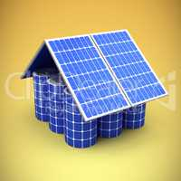 Composite image of 3d image of model house made from solar panels and cells