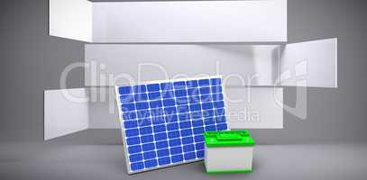 Composite image of vector image of 3d solar panel with battery