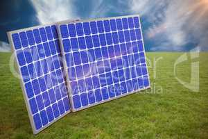 Composite image of 3d image of blue solar panels