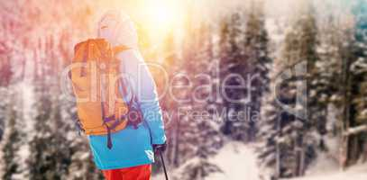 Composite image of rear view of skier holding ski pole