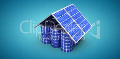 Composite image of 3d image of house model made from solar panels and cells