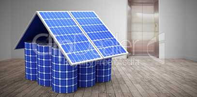 Composite image of 3d image of model home made from solar cells and panels