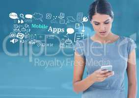 Woman with phone and Mobile Apps text with drawings graphics
