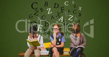 Digital composite image of students with books and flying letters