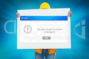 Architect showing error sign
