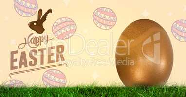 Happy Easter text with Easter Egg in front of pattern