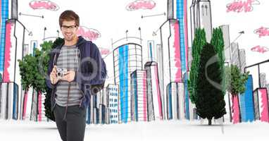 Digital composite image of traveler with camera against buildings