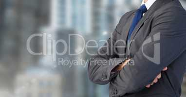 Business man with city blurred background