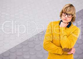 Man with glasses thinking with split textured background