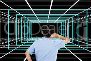 Rear view of confused businessman looking at abstract patterns