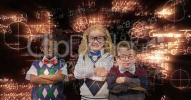 Happy school children standing arms crossed against glowing equations