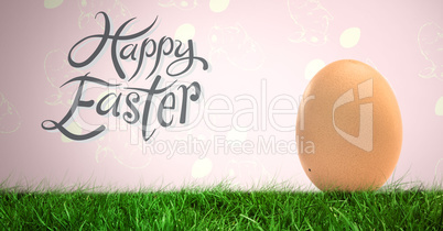 Happy Easter text with Egg in front of rabbit pattern