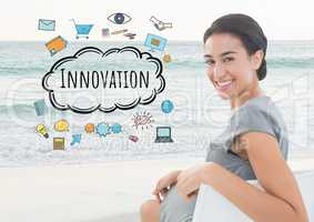 Smiling woman seaeted on beach and Innovation text with drawings graphics