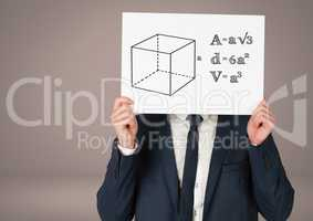 Man holding card with equations geometry graphic drawings