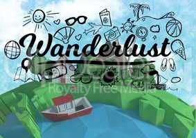 Wanderlust graphic with 3D animation earth