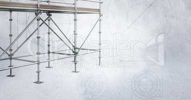 3D scaffolding on soft grey background