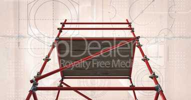 floor view of 3D red scaffolding