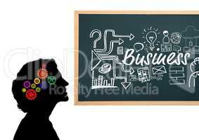 Shadow of woman with3D cogs on the head and blackboard with Business graphic