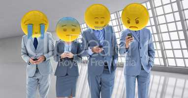 Business workers receiving a bad notice . Emoji heads.