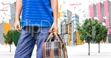 Digital composite image of traveler carrying bag in city