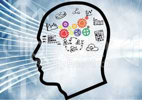 outline head with 3D cogs brain and graphic about economy