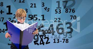 Digitally generated image of boy reading book with numbers flying against patterned background