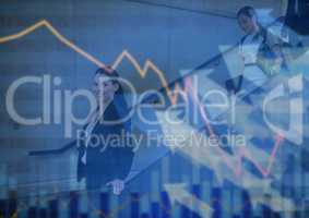 Business people walking down stairs with chart and arrows graphic overlay